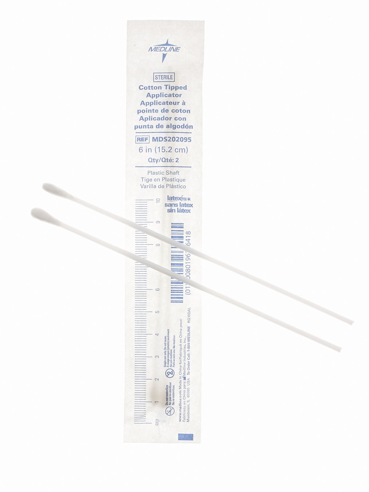 Medline MDS202095 Sterile Cotton Tipped Applicator, 6'' (Pack of 2000)