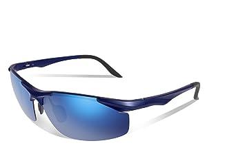 fawova Gafas de Sol Deportivas Hombre Polarizadas,Gafas Running Hombre con Espejada Azul Lentes,