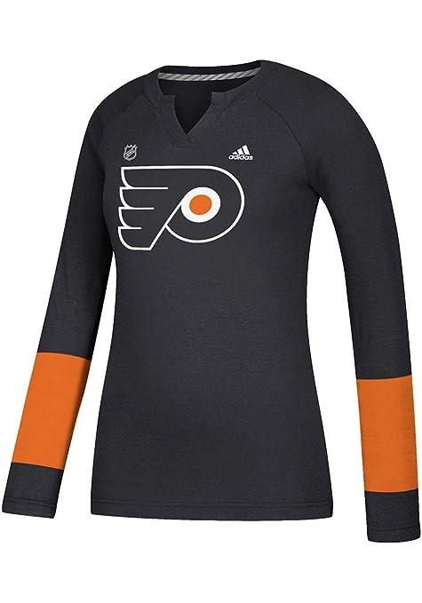 aa0f29d6851 Amazon.com: Philadelphia Flyers Women's Black Long Sleeve Henley Tee ...
