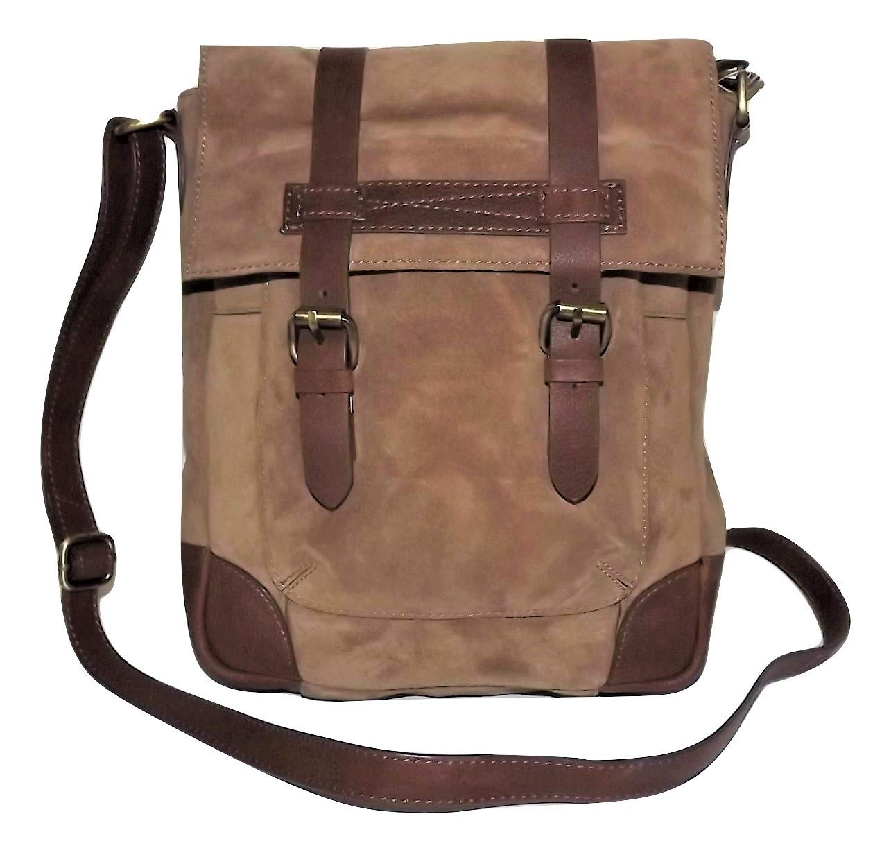 Scully Retro Nubuck Leather Cargo Messenger Tablet Crossbody Bag Tan//Brown