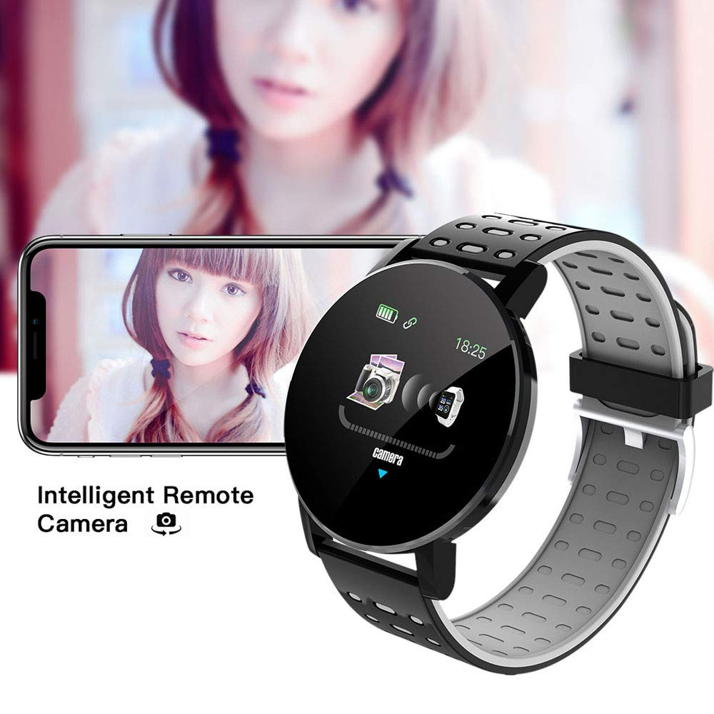 MiMiey Fitness Armband Uhr Watch Herzfrequenz Runder Bildschirm Smart Armband Bluetooth Erinnerung an Eingehenden Anruf Sport Band Smart Watch Fitness Tracker mit Pulsmesser (Rot)