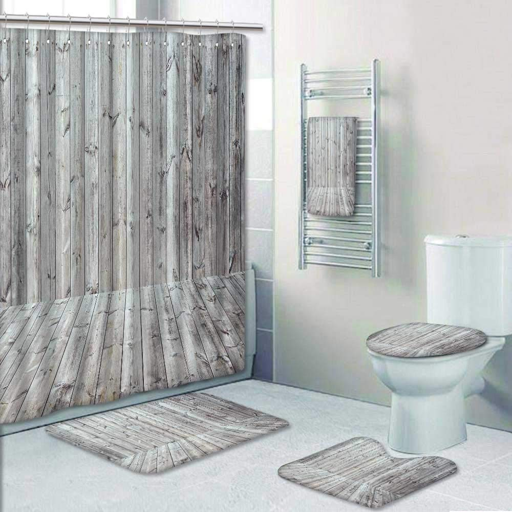 Philip-home 5 Piece Banded Shower Curtain Set Wood Texture with Vintage Toned Style Pattern Printing Suit