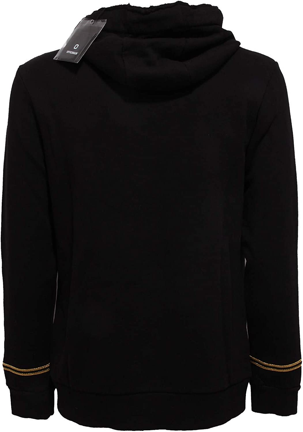 8703AA Felpa Uomo OFFICINA36 Black Cotton Full Zip Hoodie raw Cut Sweatshirt Man Nero