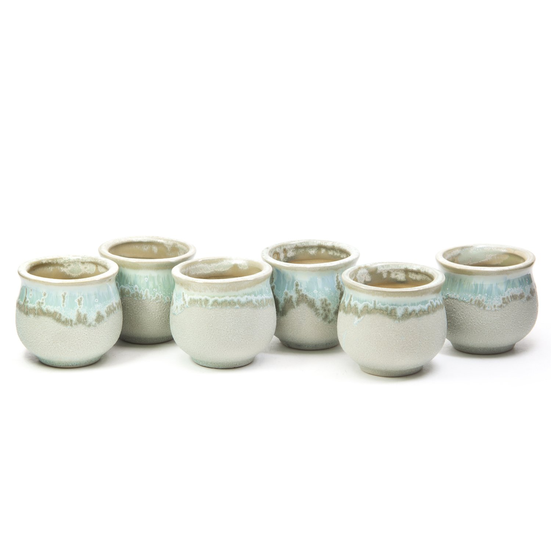 goldblue 2.5 Inch Ceramic Flowing Glaze Serial Succulent Cactus Plant Pot Flower Planter Container Light Green Set of 6