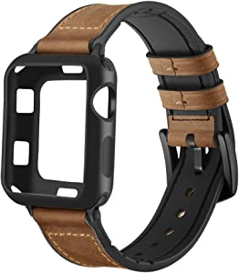 Maxjoy Compatible with Apple Watch Band 38mm,Hybrid Bands Vintage Leather and Rubber Sweatproof Strap with Silicone Protective Case Replacement for iWatch Series 3/2/1 Nike+ Sport Edition Dark Brown