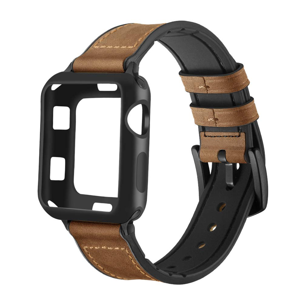 Maxjoy Compatible with Apple Watch Band 38mm,Hybrid Bands Vintage Leather and Rubber Sweatproof Strap with Silicone Protective Case Replacement for iWatch Series 3/2/1 Nike+ Sport Edition Dark Brown by Maxjoy
