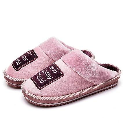 SHANGXIAN Invierno Casa Pantuflas Zapatos Pareja Espesar Mantener Caliente Interior Casual Algodón Pantuflas Cómodo Y Suave
