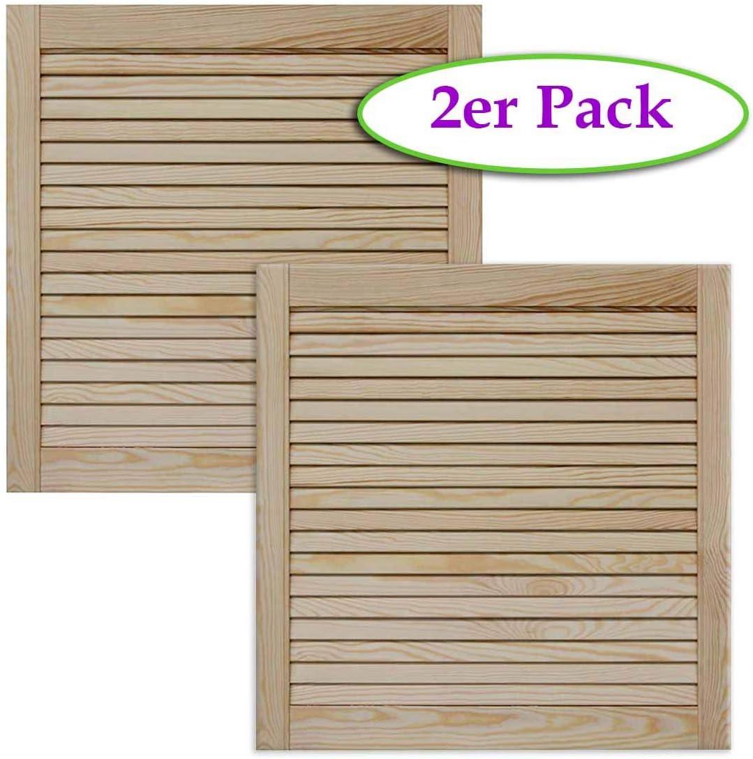 Lamellent/ür Holzt/ür natur 61,5 x 39,4 cm mit offenen Lamellen f/ür Regale Schr/änke Kiefer Holz unbehandelt M/öbel