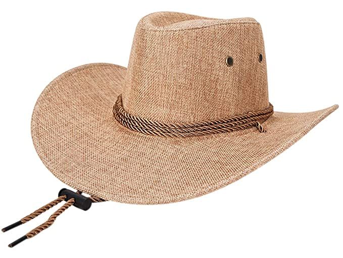 02484b78f1c BOGIWELL Men s Faux Felt Western Cowboy Hat Outdoor Wide Brim Hat with Chin  Strap Beige