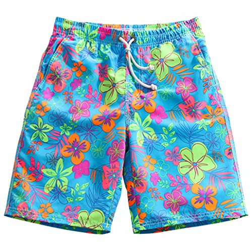 nuosife Swim Trunks for Women Colorful Flower Quick Dry Beach Shorts