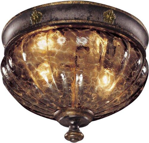 (Metropolitan Sanguesa Collection N6080-194 2-Light Flush Mount, Sanguesa Patina Finish with Vidrio Artistico)