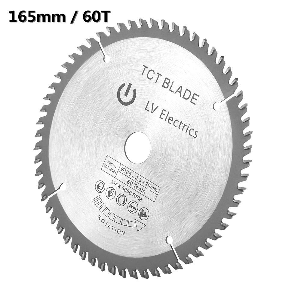 Pl/ásticos 60 Dientes Herramientas de Corte para Procesar Cobre 165 x 20 x 2.3 mm Hoja de Sierra Circular Madera Hierro Aluminio etc