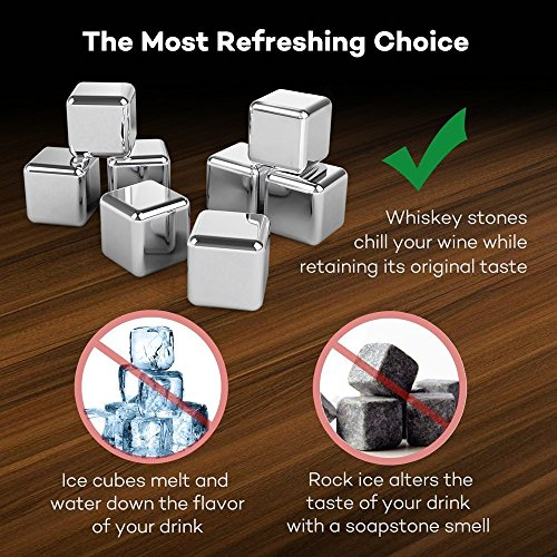 TaoTronics-Stainless-Steel-Whiskey-Stones-Reusable-Ice-Cubes-Chilling-Stones-Rocks-for-Wine-Beer-Beverage-Set-of-8-Rubber-Tip-Tongs-Ice-Tray-with-Lid-FDA-Approved-BPA-Free-TT-HP005N-New