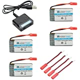 HOBBYTIGER 3.7V 800mAh Lipo Battery + 4 in 1 Batteries Charger for MJX X400 X400W X300C X800 X500 X200 Sky Viper S1700 S670 V950 Syma X56W HS200W RC Quadcopter Drone