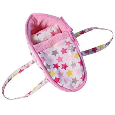"""Stars White & Pink 15"""" Doll Carry Bed with Pillow: Toys & Games"""