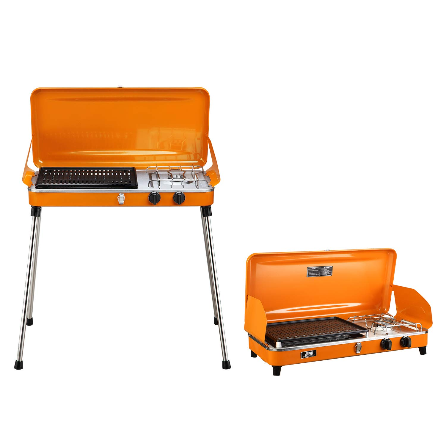 Liquid Propane BBQ Gas Grill, Barbecue Grill Outdoor Cooking Camping Stove Portable Stainless Steel, Orange Wonlink