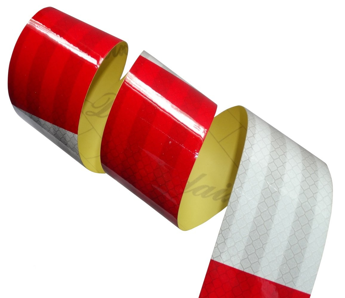 Aerzetix: 4.5m 5cm Bande blanc/rouge carré s adhé sive de marquage ré flé chissante retroré flé chissante SK2-C12460-AB44