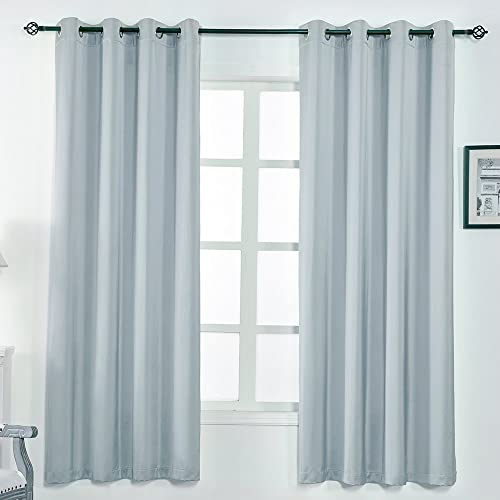 Blackout Curtains for Bedroom,Faux Silk Curtain Drapes for Living Room,Drapes 2 Panels 84 Inches Long Lightgrey