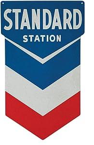 Standard Station Sign, Nostalgic Looking Gas Oil Service Station Retro Metal Sign 16 1/2