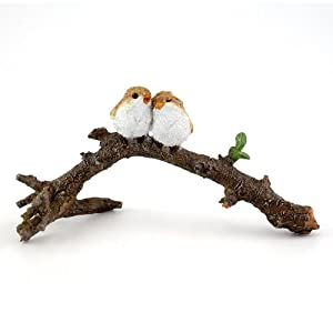Top Collection 4404 Miniature Fairy Garden & Terrarium Lover Birds on Branch Statue, Small