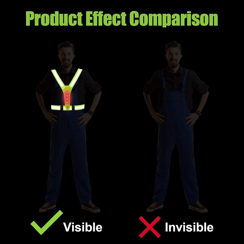 Chaleco de Seguridad Reflectante para Adultos y Ni/ños Chaleco Reflectante Chaleco Reflectante Ajustable para Correr//Trotar//Motocicleta//Ciclismo Chaleco de Seguridad LED de Alta Visibilidad