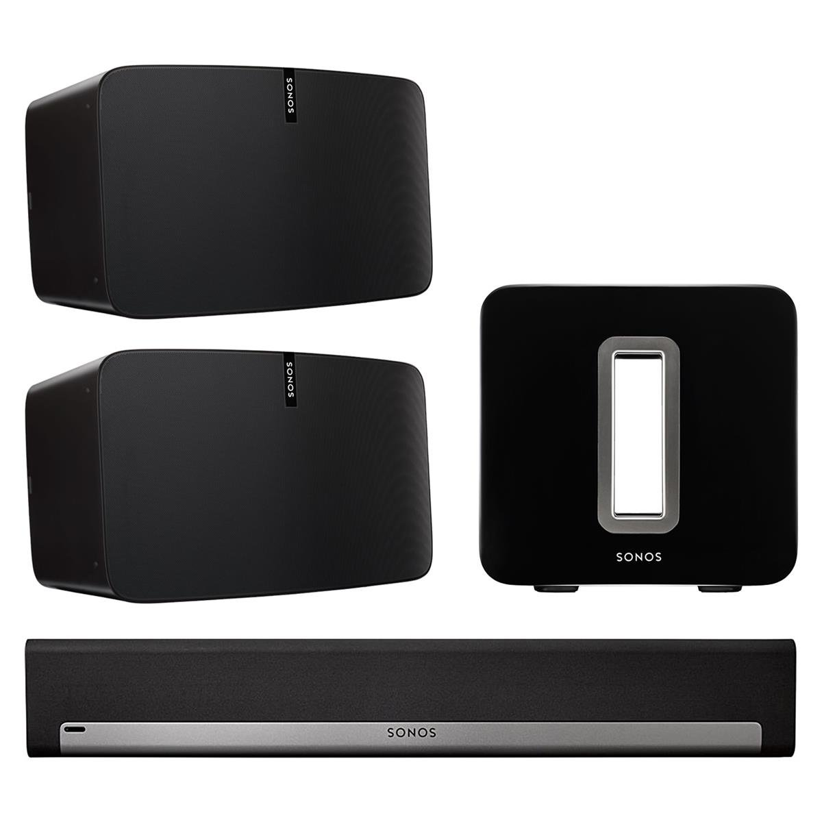 Sonos 5.1 Home Theater System with PLAY:5 (Pair), PLAYBAR, and SUB (Black) by Sonos
