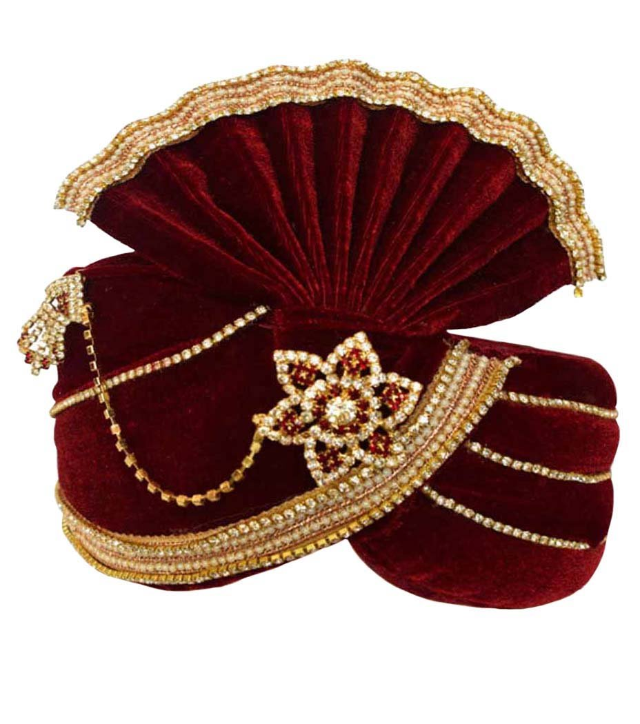 INMONARCH Mens significance Groom Turban Pagari Safa Groom Hats TU1096 22-Inch Red by INMONARCH