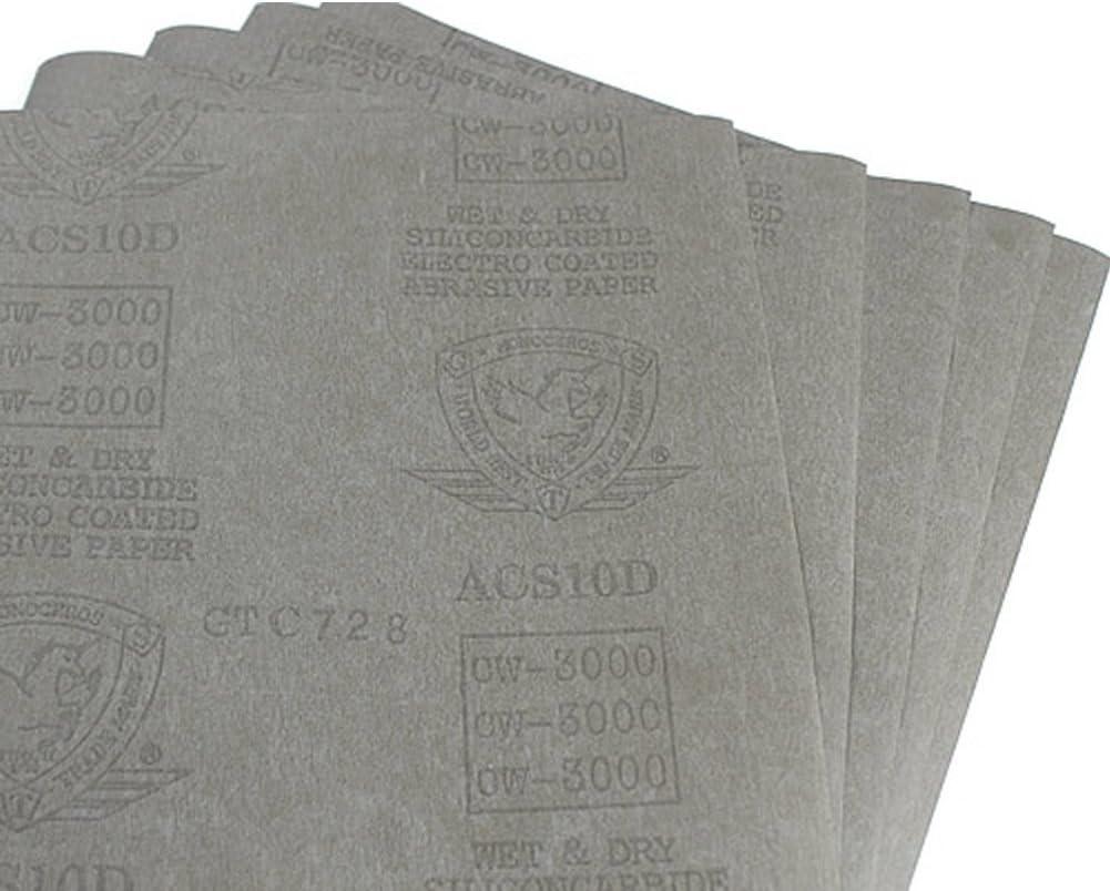 Estone 5 sheets Sandpaper 3000 Grit Waterproof Paper 9x11 Wet//Dry Silicon Carbide