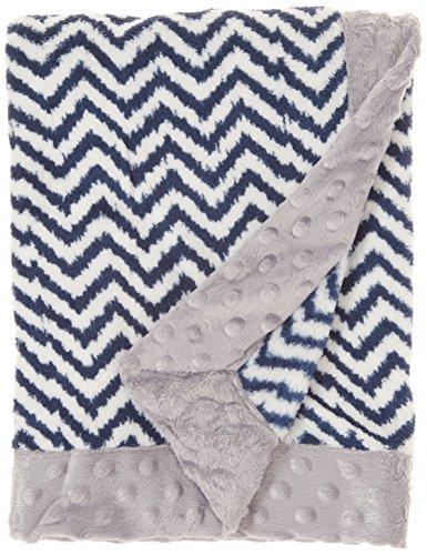 Bedding Baby Border (Bacati Navy Ikat Zigzag Chevron with Border Plush Blanket, Navy/Grey, 30