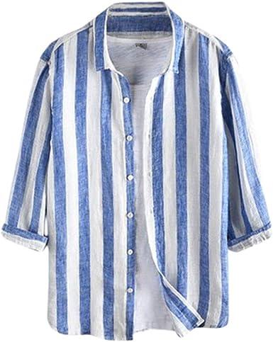 Hombre 3/4 Manga Larga Camiseta Solapa Raya Camisa Estampada Estilo Slim Fit Camisa Hawaiana Suave Transpirable Cómodo Camisas Tops: Amazon.es: Ropa y accesorios