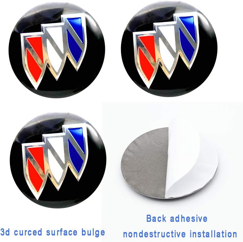 Car concentration camp 4PCS 56mm Wheel Center Hub Caps Decals Emblem Stickers Fit for Buick with Bonus Tire Valve Stem Caps Cover Set