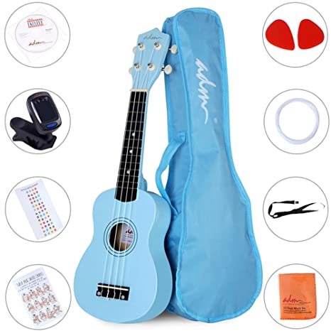 Amazon Adm Ukulele 21 Inch Soprano Wood Beginner Kit With