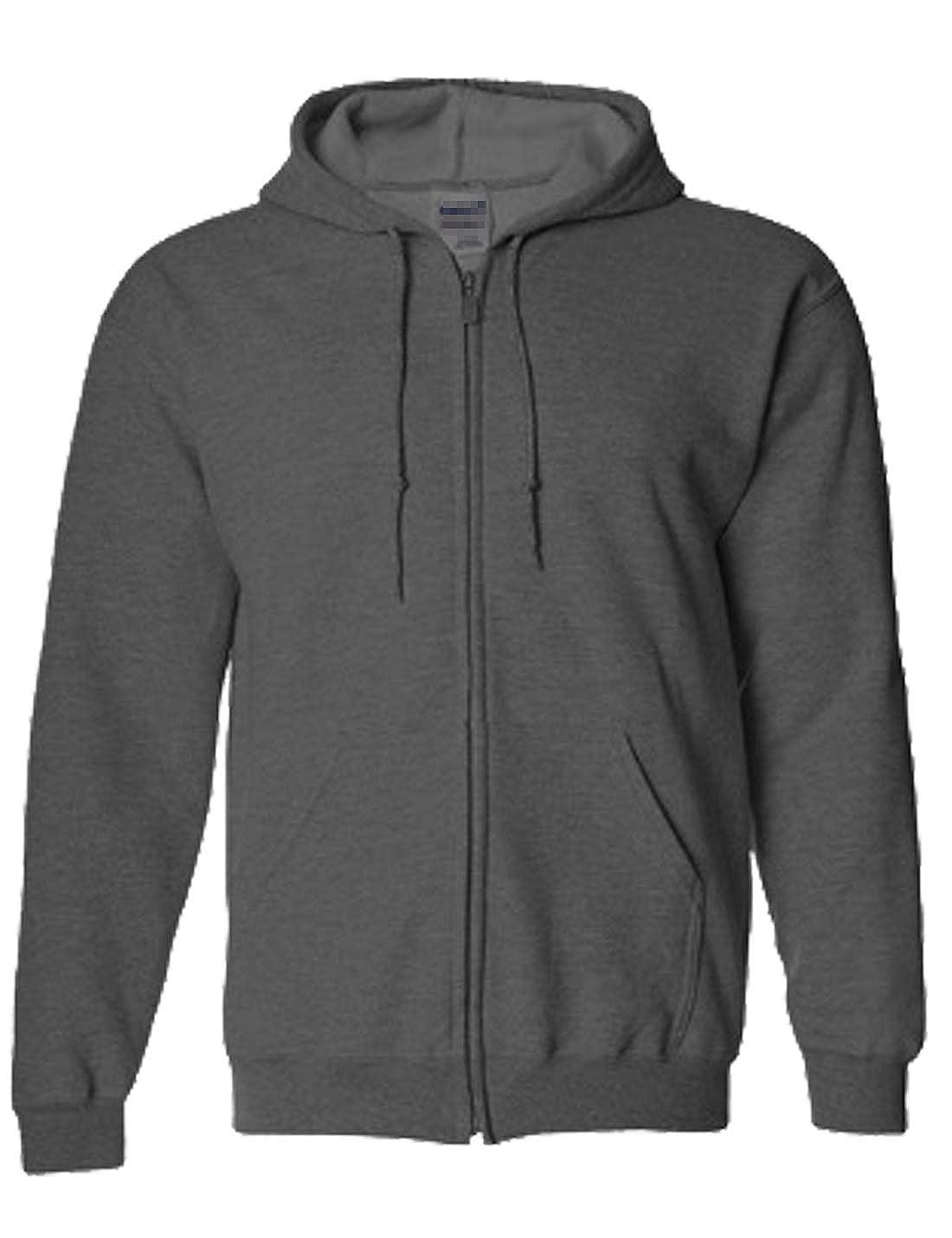 Liengoron Mens Fashion Hoodies Full Sleeve-Front Zip Sweatshirts with Kanga Pocket