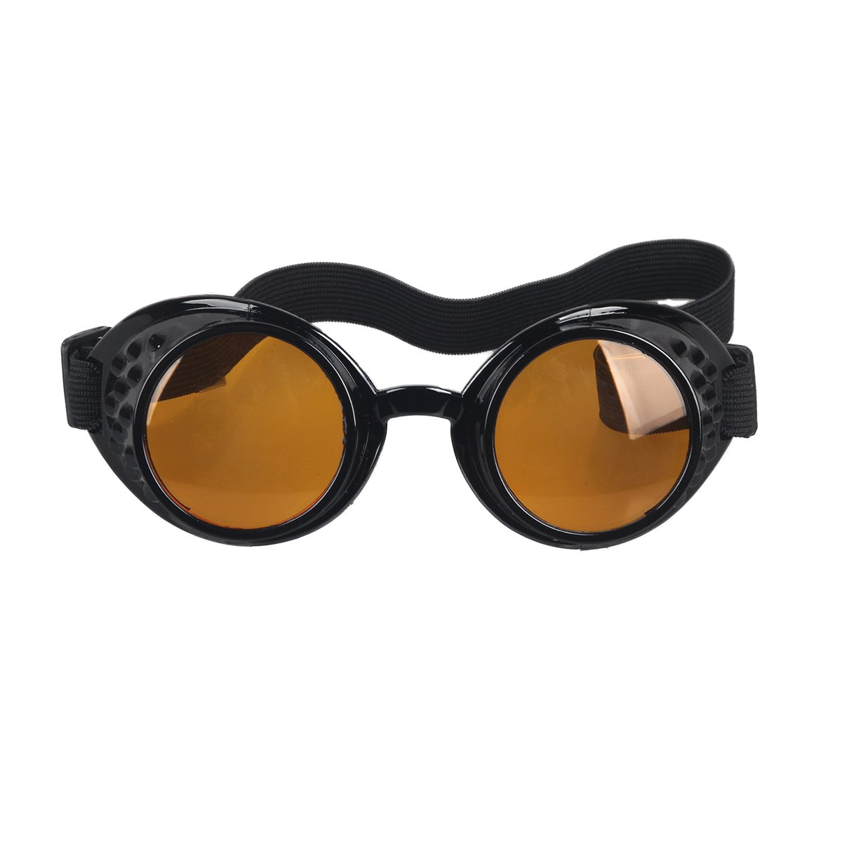 OMG_Shop Vintage Victorian Steampunk Welding Cyber Punk Gothic Cosplay HS Goggles Glass Black Frame (Orange Lens)