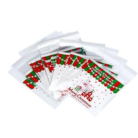 Emorias 100 Pcs Navidad Bolsa de Celofán Decoración Caja de ...