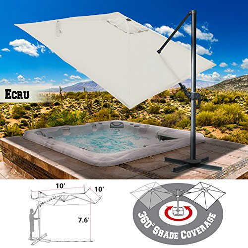 Strong Camel 10'x10' Deluxe Off-Set Hanging Roma Offset Umbrella Tilt & 360 Rotation Patio Heavyduty Outdoor Sunshade Cantilever Crank(Steel Cross Base is Included) (Ecru) ()