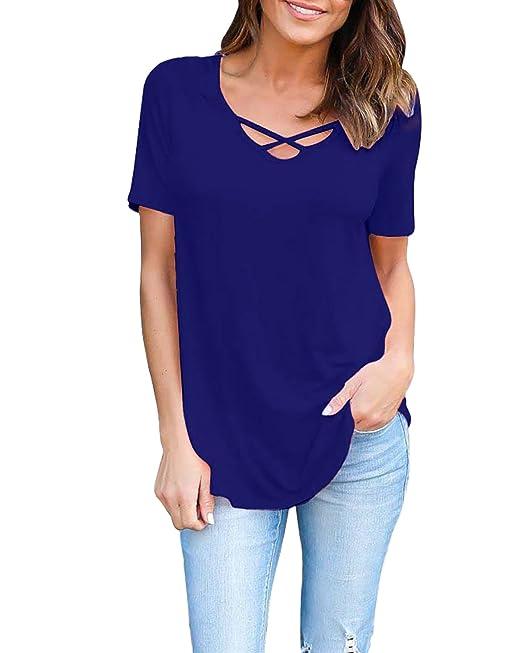 StyleDome Mujer Camiseta Playa Verano Blusa Mangas Cortas Cuello Pico con Tiras Elegante Oficina Azul S