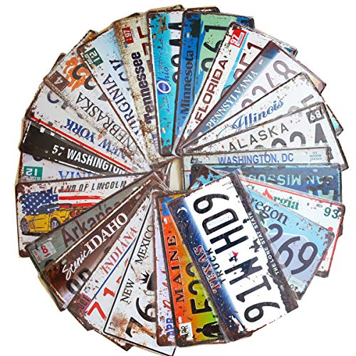 - 24 Pieces Assorted Retro Vintage Number Tags, Embossed License Plates, Home Wall Automobile Bar Garage Man Cave Decoration, 6x12 inch / 15x30cm