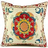 Uzbek Suzani Pillow | iv 16x16 Hand Embroidered Pillow Cover …