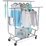 LANGRIA Commercial Grade Garment Racks Adjustable Double Rail Rolling Clothing Rack Coat Rack, Heavy Duty Extensible Clothes Hanging Rack, Chrome Finish