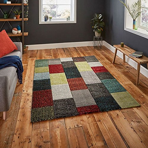 Think Rugs Brooklyn 21830 Hand Carved Rug, Grey/Multi, 160 x 220 Cm