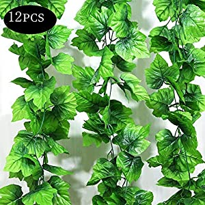 AYUQI Christmas Decorations Leaves Garland Artificial Plants, 12 Packs Artificial Hanging Plants Fake Vines Silk Ivy Leaves Greenery Garland for Wedding Kitchen Wall Outdoor Party Festival Decor 15