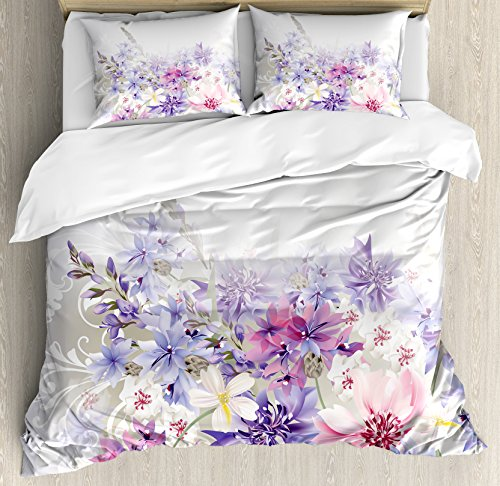 Ambesonne Lavender Duvet Cover Set, Pastel Cornflowers Bridal Classic Design Gentle Floral Wedding Decor Print, 3 Piece Bedding Set with Pillow Shams, Queen/Full, Violet Pink White