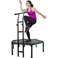 MOVTOTOP 48 Inch Fitness Trampoline, Folding Indoor Trampoline Rebounder with Adjustable Handrail and Safety Pad, Exercise Trampoline for Kids Adults
