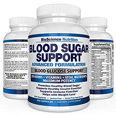 Blood Sugar Support Supplement - Control Blood Glucose & Weight Loss - 20 HERBS & Multivitamin containing Multiple Vitamin Mineral with Alpha Lipoic Acid & Cinnamon - BioScience Nutrition