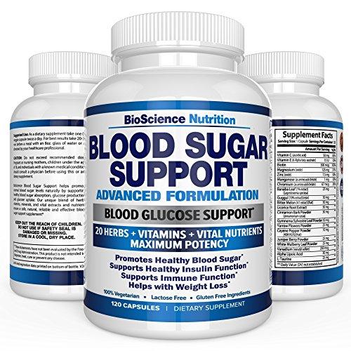 Blood Sugar Support Supplement – 20 HERBS & Multivitamin for Blood Sugar Control with Alpha Lipoic Acid & Cinnamon – 120 Pills – BioScience Nutrition