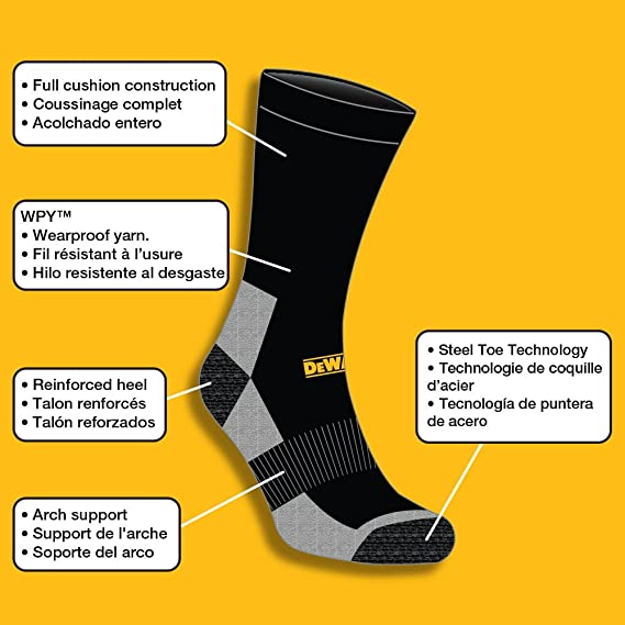 DEWALT Mens 2 Pack Full Cushion Steel-Toe Cotton Work Boot Crew Socks at Amazon Mens Clothing store: