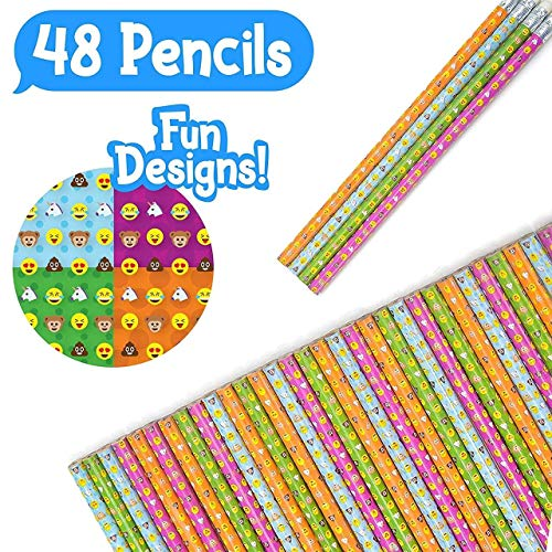 48 Novelty Emoji Smiley Face Two Pencils -  Durable Wood and Lead - Awesome Back-To-School Presents, Classroom Rewards, and Kids Party Favors - Won't Snap or Peel - Popular With Kids -