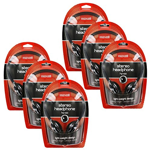 Maxell HP-100 Portable Stereo Headphones, Lightweight, Black, Pack of 6