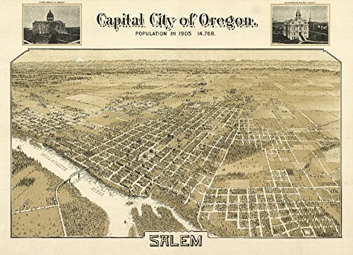 Salem, OR Panoramic Map - 1905 (16x24 SIGNED Print Master Giclee Print w/Certificate of Authenticity - Wall Decor Travel Poster)